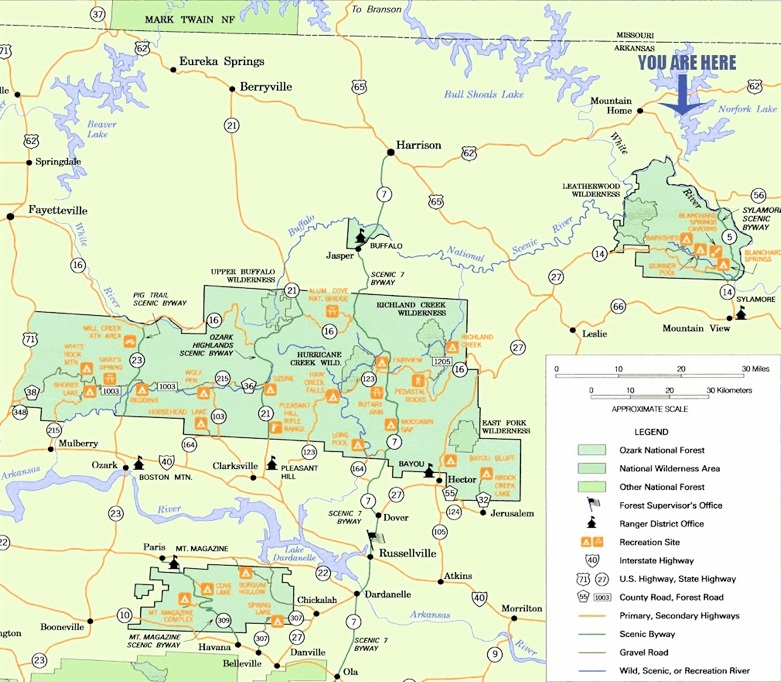 Ozarks Arkansas Map.Map Of Northern Arkansas Southern Missouri The Ozark Trail And